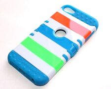 iPod Touch 5 6 Gen - HARD&SOFT RUBBER HYBRID ARMOR CASE TEAL BLUE GREEN STRIPES