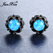 Vintage Round Blue Fire Opal Flower Shaped Claw Stud Earrings Black Gold Jewelry