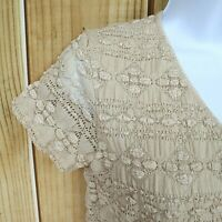 East 5th Shirt Top Womens Size PM Beige Tan Stretch Ruched Short Sleeve UNIQUE