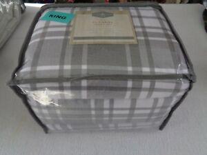 "LONDON FOG Lodge Coll. XDeep flannel KING Sheet set -to 17"" mattress gray plaid"