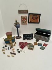 Vintage Noahs Arc Bedroom Items Trunk Arc Animals Toys Dollhouse Miniatures 1:12