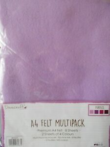 "Felt ""Purples "" Multipack "" 8 Pieces A4 Size New by Dovecraft"