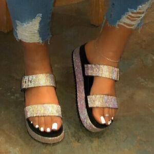 Ladies Summer Fashion Open Toe Flat Platform Slipper Slip On Glitter seaside