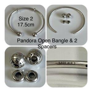 PANDORA SIZE 2 (17.5cm) OPEN BANGLE REF 596477 RRP £60.00 S925 ALE