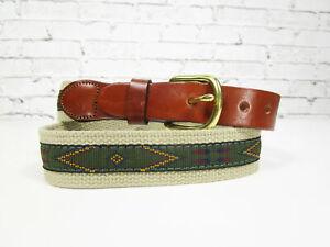 Leather Man Ltd Essex Web Leather Belt Size 32 Southwestern Aztec Handmade