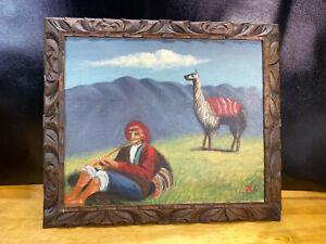 """Vtg PERU FOLK PAINTING Llama Field Mountains Framed 18""""x21"""""""