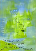 21022403 e9Art ACEO Quote Sendak Outsider Art Brut Painting Abstract Figurative