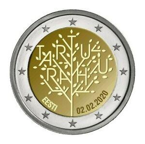 Pièce commemorative 2 euros Estonie 2020 UNC - Le traité de paix de Tartu