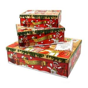 Christmas Themed Elves Santa Delivery Eve Box Lid 3 Sizes Gift Giving