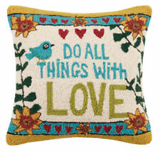 "DO ALL THINGS WITH LOVE HOOK PILLOW 18X18"" -INSERT INCL. STEPHANIE BURGESS, NEW!"