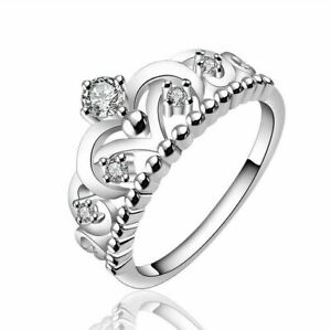 925 Sterling Silver Stackable Crown Ring with Crystal - Choose a Size