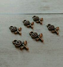 6 Rose Charms Antique Copper Tone Flower Pendants Garden Findings Spring