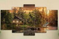 Multi Panel Print Cabin in the Woods Canvas Wall Art Mountain Creek Lake 5 Piece