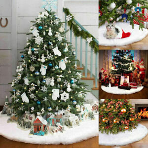 90cm Christmas Tree Skirt Base Faux Fur Xmas Floor Mat Ornaments Decoration UK