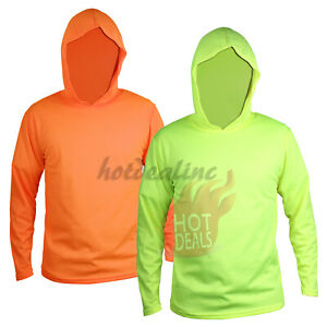 Hi Vis Work Safety High Visibility Construction Hoodie Long Sleeve T-Shirt
