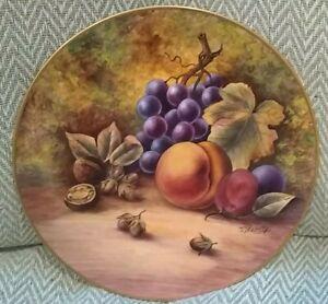 Large plate Hand painted fruit by ex royal Worcester artist Signed J skerret