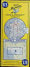 MICHELIN FRANCE 1963 COLOURED PAPER MAP of VANNES-ANGERS No 63 1:200 000