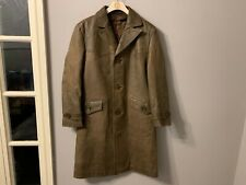 VINTAGE 60'S DISTRESSED HEAVY LEATHER GERMAN TRENCH COAT JACKET SIZE S