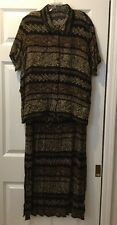MAGGIE MCNAUGHTON Womens 2PC Brown Black Sleeveless Dress w/ Cover Up Size 1X