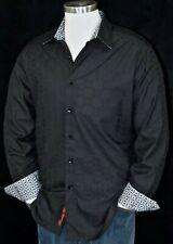 Robert Graham Medium Shirt Cullen Black Egyptian Cotton Sleek Long Sleeve New