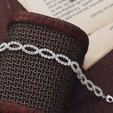 Silver Elegant Brilliant Beaded Bangle Bracelet with Swarovski Cystals Elements