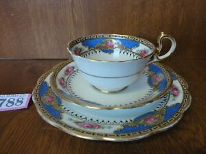 Rare Vintage Royal Albert Tea Trio - Pink Roses, Heavy Gilt, Blue Panels / 5808