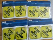 8 Novelty Car Signs with Stay Put Suction Pads All New  2 x 4