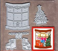 First Edition Christmas Build a Scene 3d Die Set Dies Armchair Window Fireplace