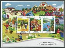 Clean India, Railway Track, River, Painting, Rainbow, India 2015 MNH SS