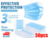 50 PCS Face Mask Medical Dental Disposable 3-Ply Earloop Mouth Cover Shield