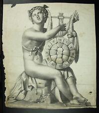 Antique print Dieu Hermès nu et sa Lyre carapace de tortue gravure c1750 éphèbe