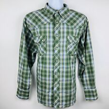 Wrangler Mens Shirt Size 2XL Big Green Blue Yellow Plaid LS Pearl Snap Western