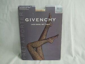 New GIVENCHY Pantyhose Lace Swirl Net Tights Sz A/B Reinforced Toe Blush (2B1)