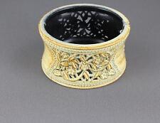 Cream Brn bangle bracelet carved floral plastic hinged wide bangle cuff flowers