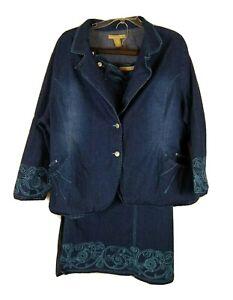 Denim d Gree Blue Jean Embroideried Skirt Suit - 22W