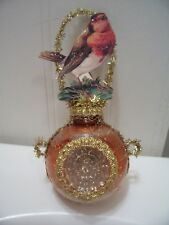 Antique Look Christmas Ornament, BIRD on Glass, Indent, Scrap,Tinsel, Handmade
