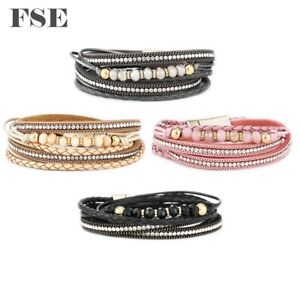 Women Leather Wrap Bracelet Magnet Clasp Beads Charms Bracelet Multi Color 022