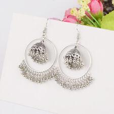 Vinatge Silver Drop Bell Dangle Jhumka Ethnic Indian Bollywood Jewelry Earrings