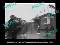 OLD LARGE HISTORIC PHOTO OF BLACKALL QLD, VIEW OF CROWD AT RAILWAY STATION 1908