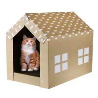 Cat Scratcher Cardboard House Eco-Friendly Portable Easy Assemble Kitty Pet Fun