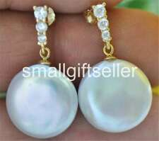 AAA+ (Gold) 15mm White Coin Freshwater Pearl Dangle Earring CZ