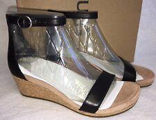 Ugg Australia Эмилия на танкетке лодыжки ремень сандалии черные кожаные замшевые пробка 1016765