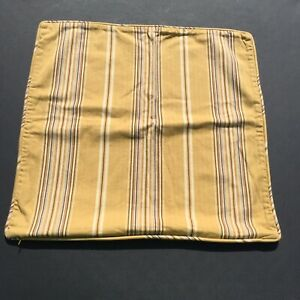 """Gold Brown Striped Pillow Cover 20"""" x 20"""" Pottery Barn Cotton"""