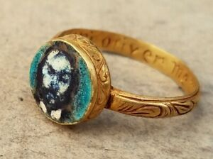Medieval  Gold ring miniature head of OLIVER CROMWELL MEMENTO MORI 10 JAN.1661