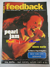 rivista FEEDBACK 4/1996 Pearl Jam Steve Earle Velvet Type o Negative Byrds No*cd