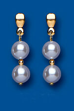 Unique Wishlist 9ct Yellow Gold White Pearl Double Round Drops AP6424