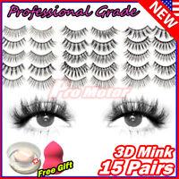 15 Pair 3D Mink Bushy False Eyelashes Long Fashion Fluffy Cross Soft Natural