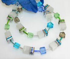 Halskette Collier 8mm Cube Cat Eye weiß Kristallglas mehrfarbig Strass 510f