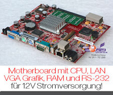 LEISE ! MOTHERBOARD 13x17 cm MIT CPU VGA 3x USB NETZWERK CF-CARD RS-232 12V A230