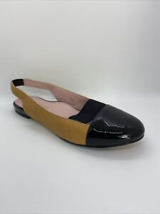 Taryn Rose Tan and Black Patent Leather Slingback Brettly Flats Size 9